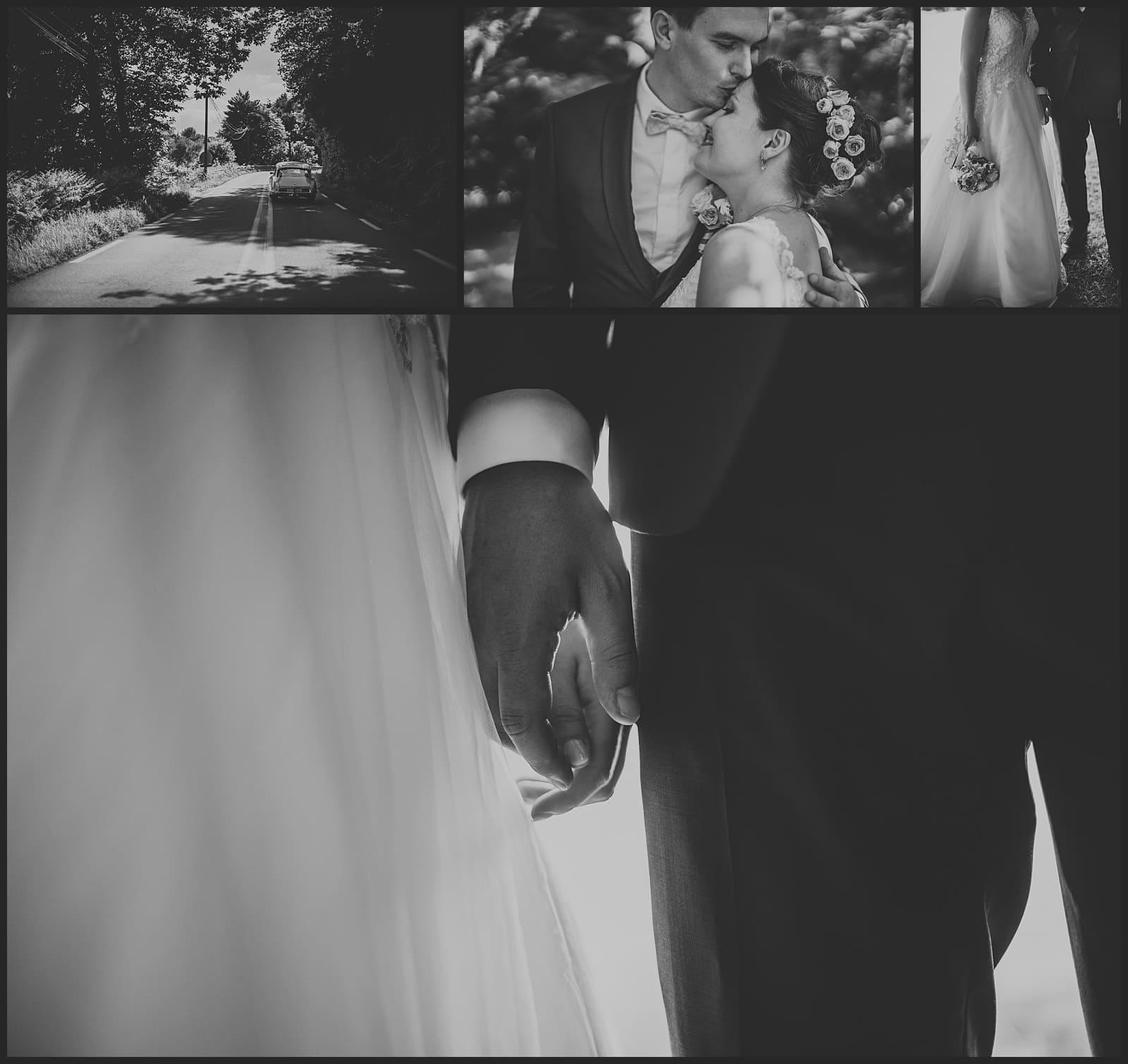Voiture des mariés, une ancienne DS en forêt, photo de couple par vivien malagnat, détails de mains