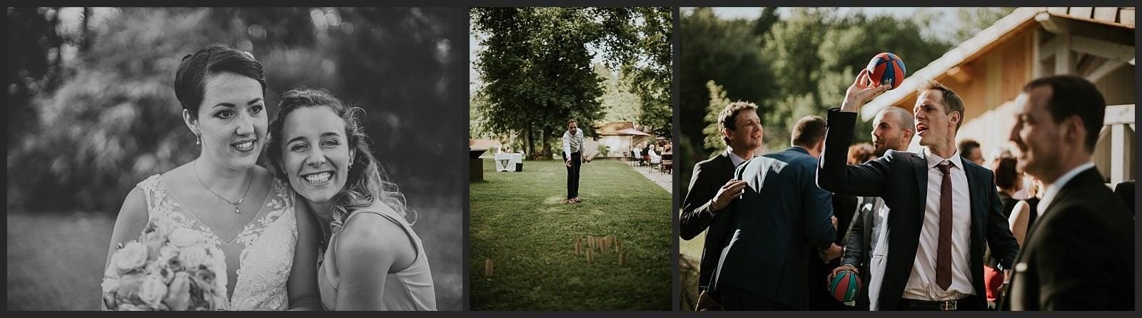 Mariée et demoiselle d'honneur Invités qui jouent au basket et aux quilles