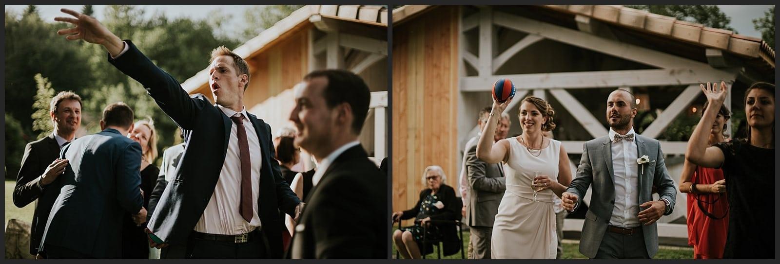 Invités des mariés qui joue aux basket au clos des cèdres à coté de Limoges