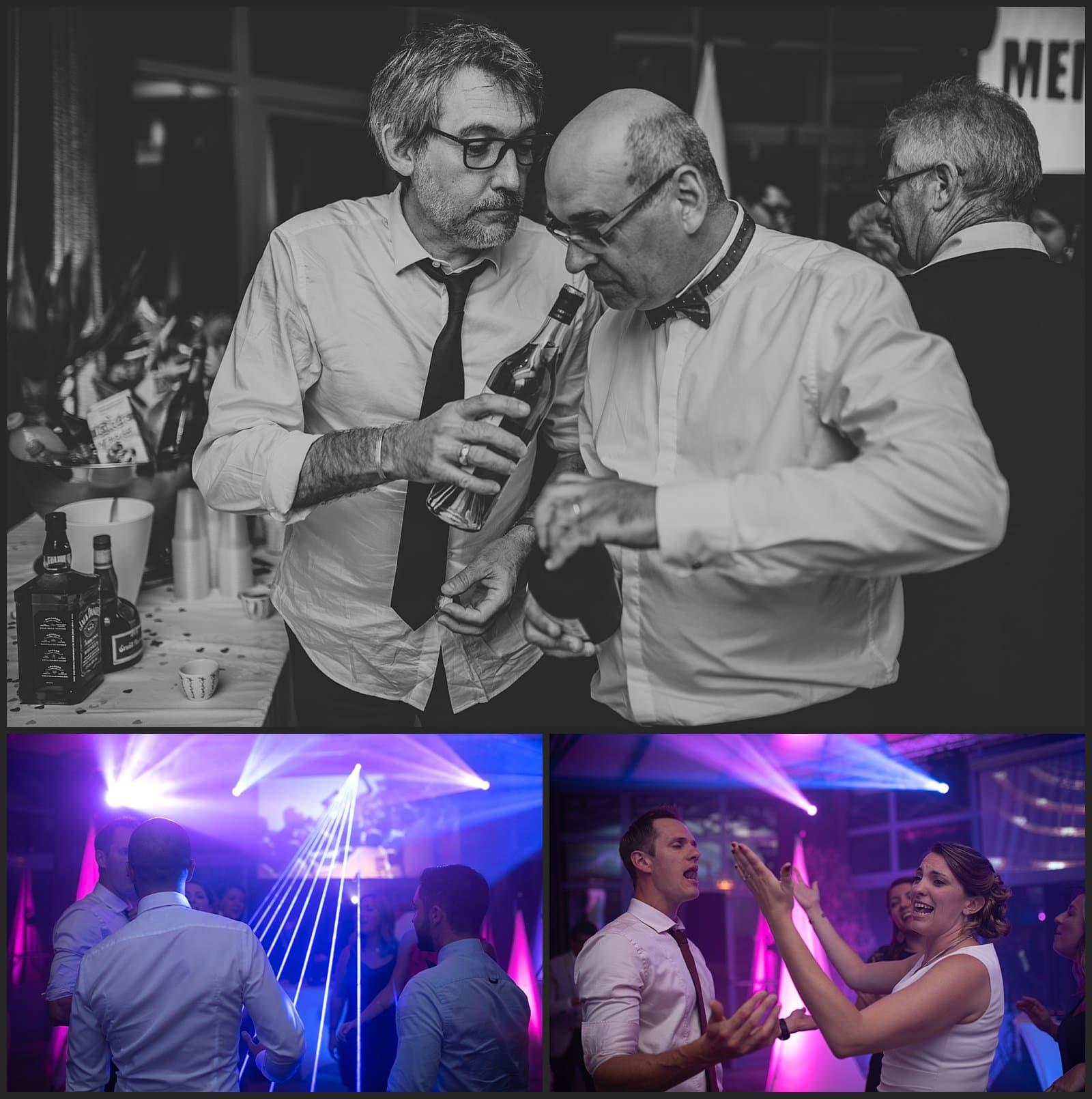 Invités qui se servent à boire et invités qui dance au clos des cèdres mariage sur Limoges par vivien malagnat