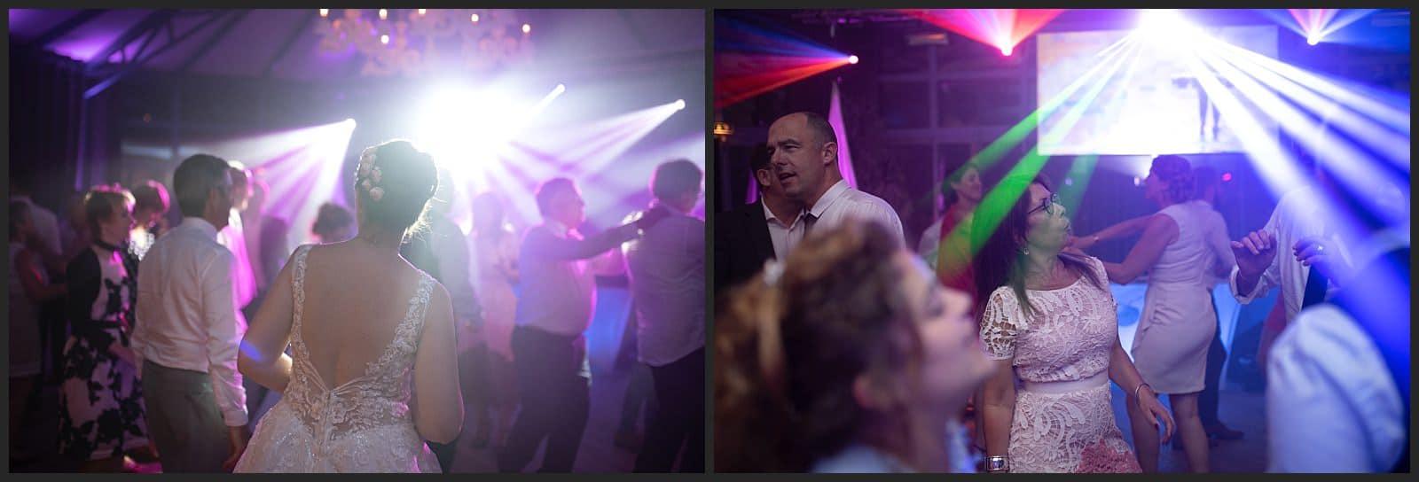 Mariée qui danse avec ses invités aux clos des cèdres par le dj la cerise sur le gateau.
