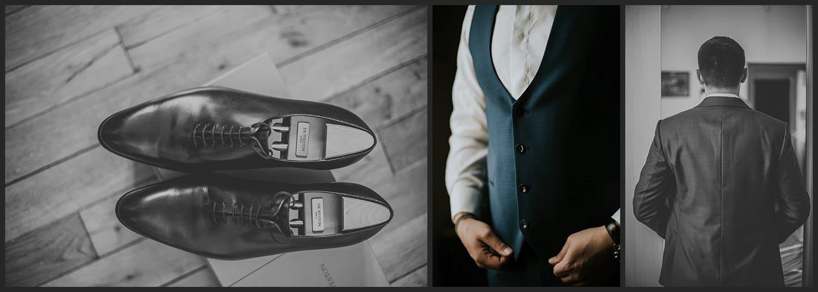 Photographe vivien malagnat détails de chaussure Weston et costume de marié Blandin et Delloye