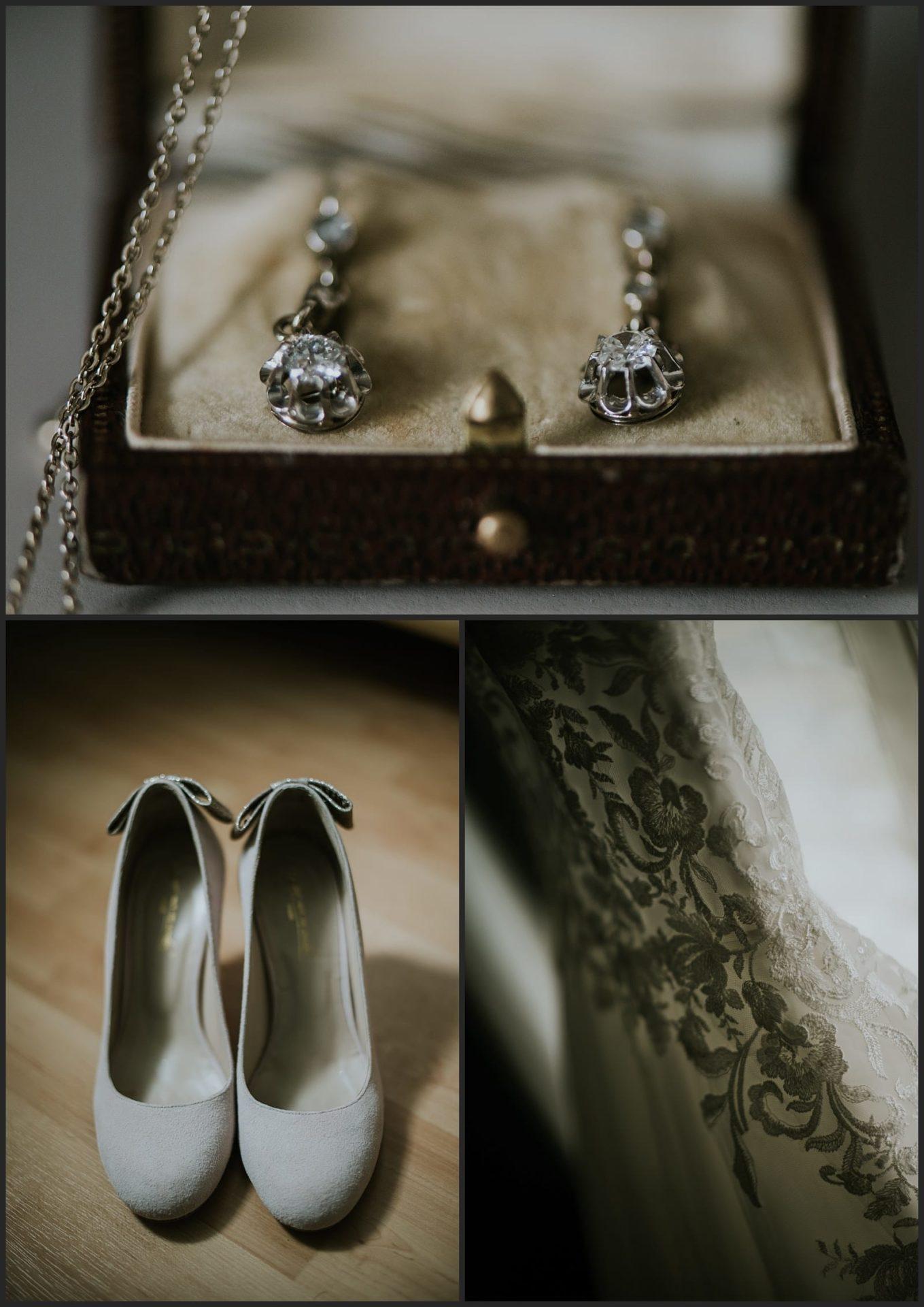 Photo de détails de bijoux par Vivien Malagnat, chaussure et robe de la mariée pronovia