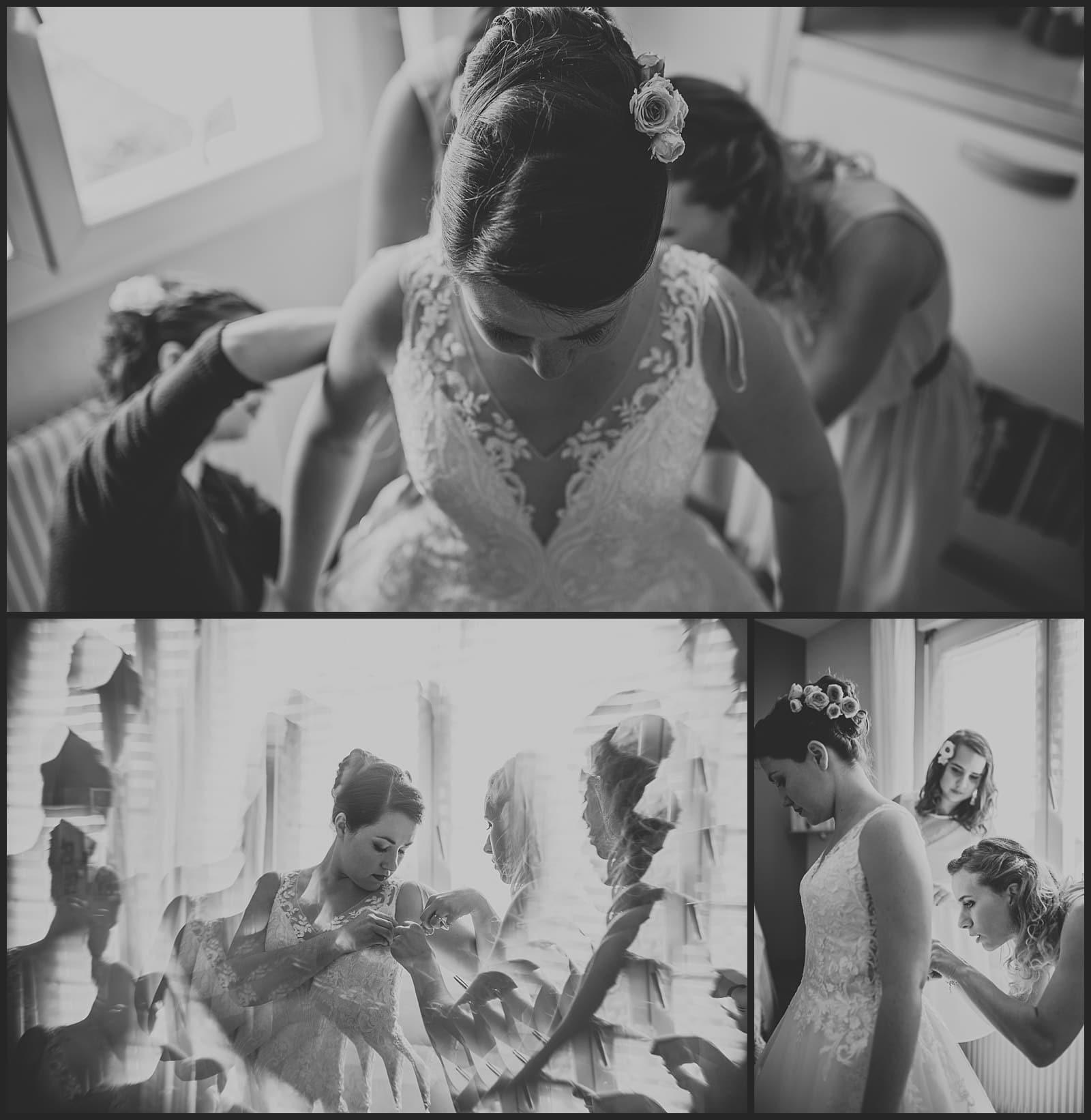 habillage de la mariée par les démoiselles d'honneur avec robe pronovia photographe vivien malagnat