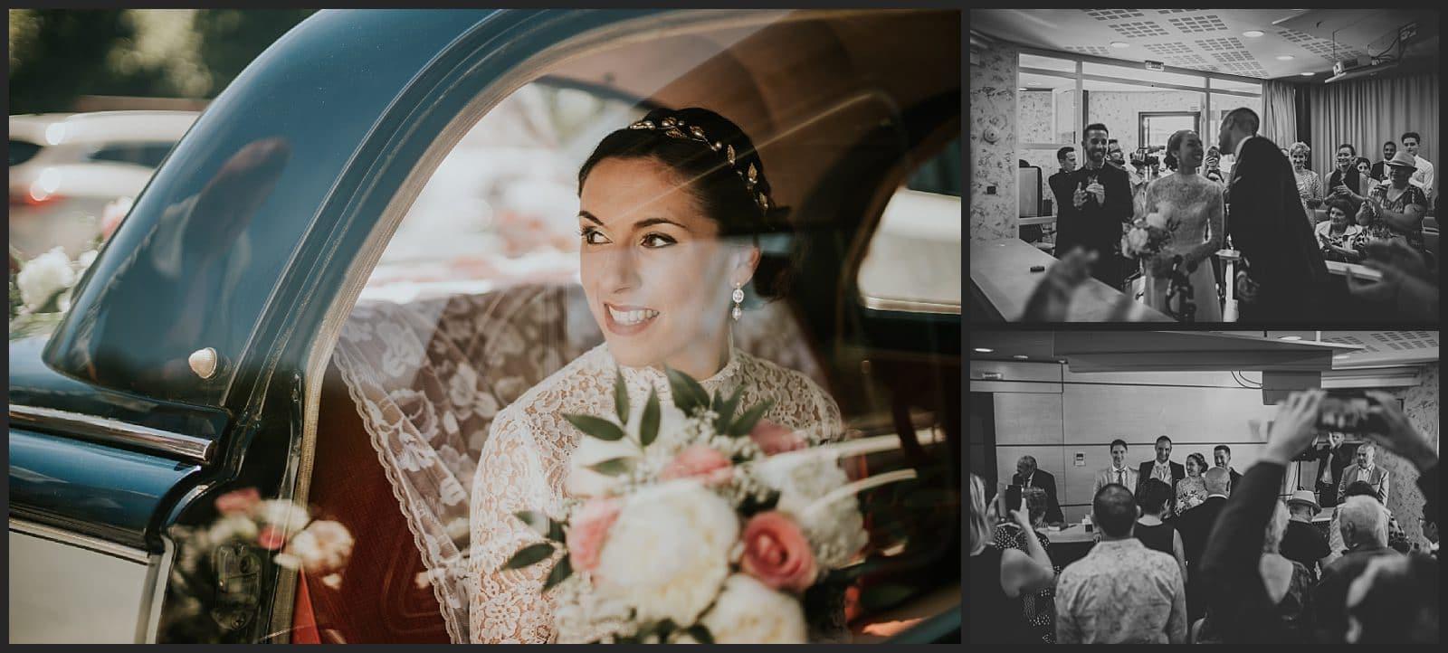 mariée à la mairie de condat sur vienne qui regarde à travers une vitre de sa voiture
