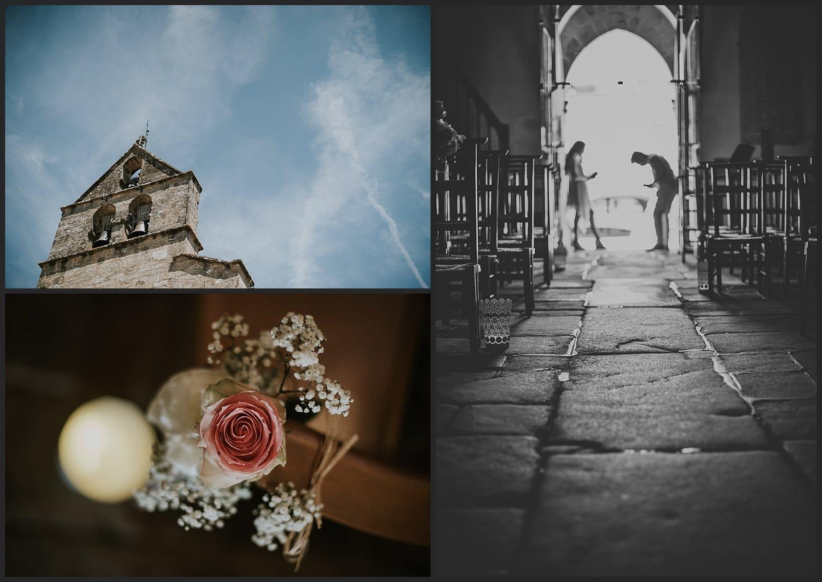 Photo église St martin d'Isle Limousin et détails de fleurs