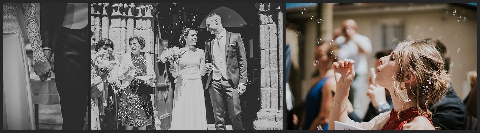Sortie mariés Photo église St martin d'Isle près de Limoges et femme qui souffle des bulles