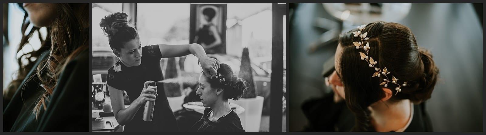 mariée coiffure dans un salon dans le limousin