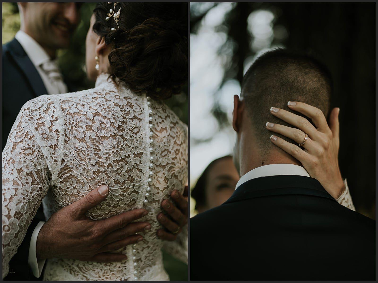chateau St Antoine photo détails main et robe en dentelle mariée créée par Céline Haudebourg et Lorenzo Visconti