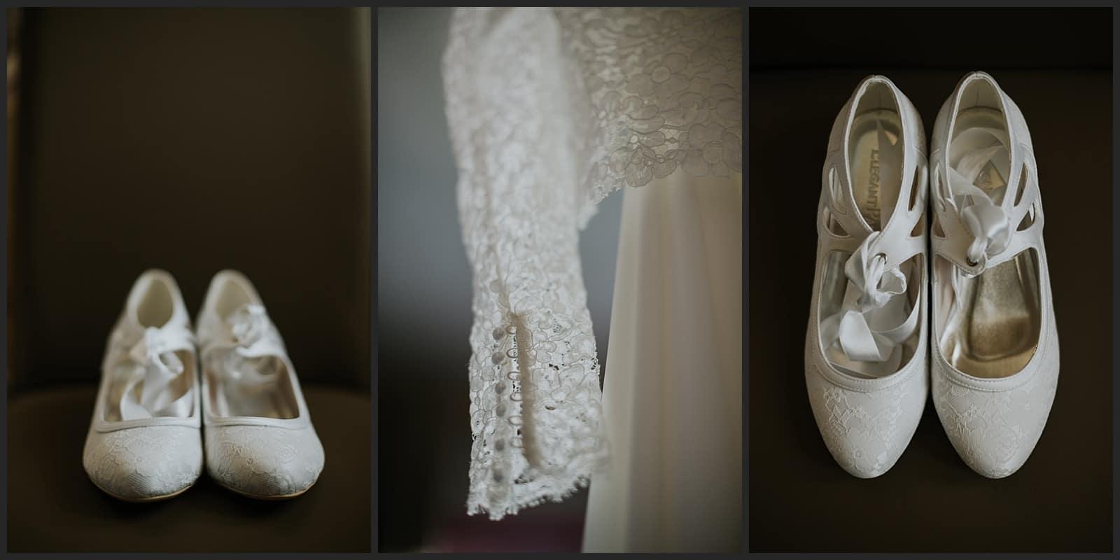 détails de la robe de mariée créée par Céline Haudebourg et chaussure