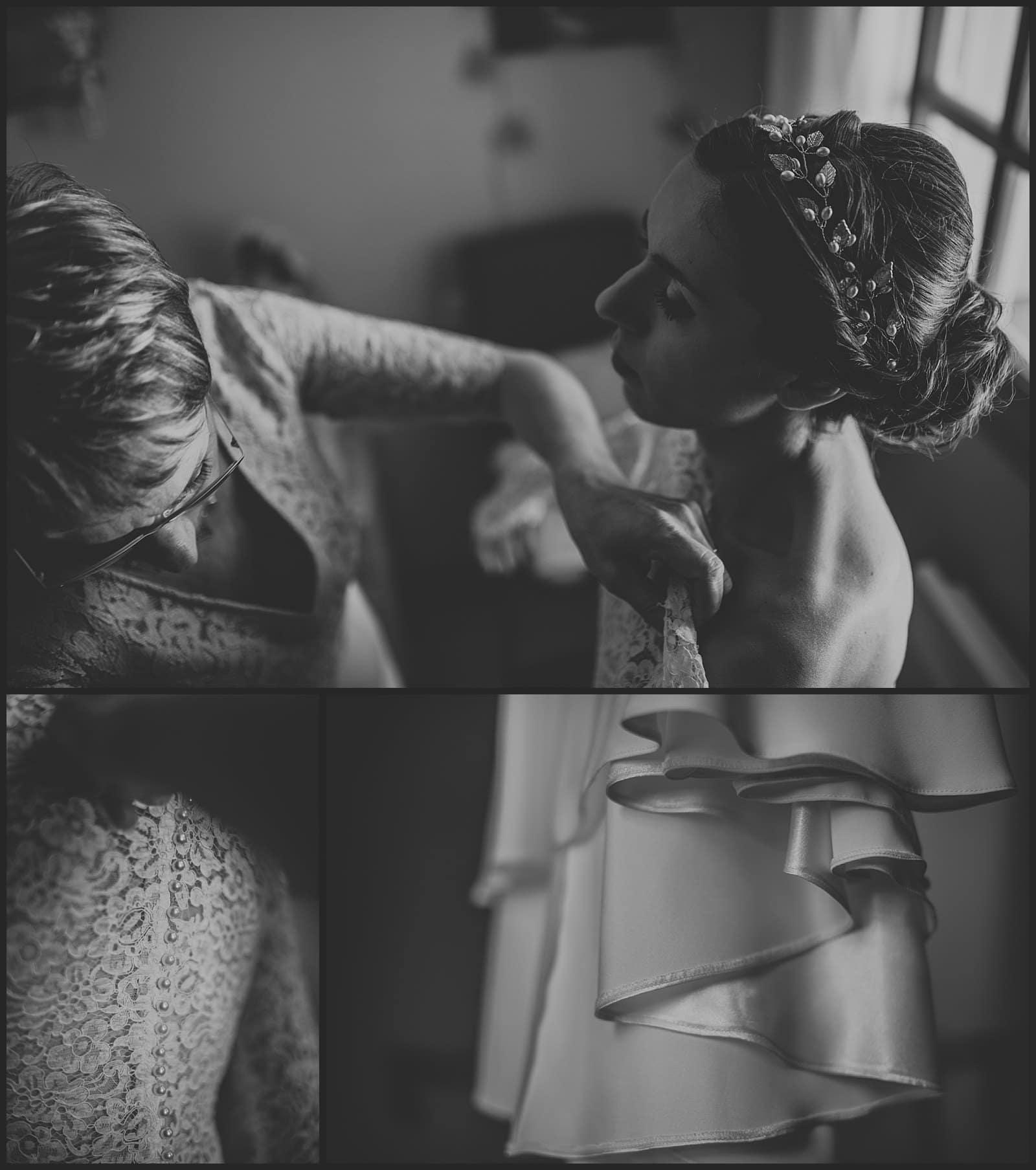 habille de la mariée au domicile de ses parents robe Céline de haudebourg