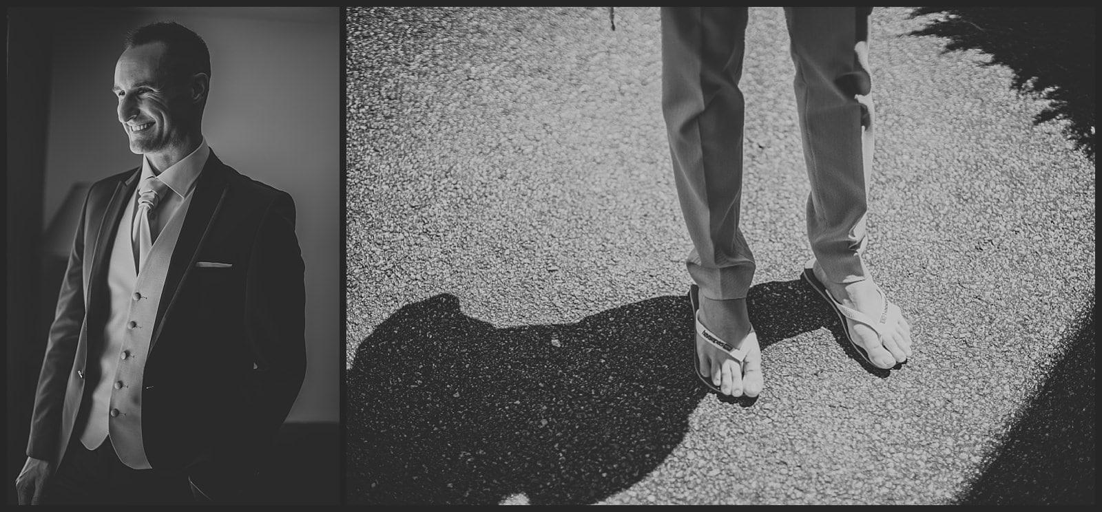 mariée et chaussures de son frère