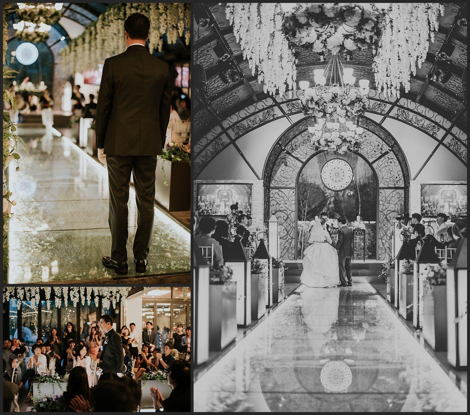 arrivée de la mariée et de son père et arrivée du marié, Wedding hall à Séoul