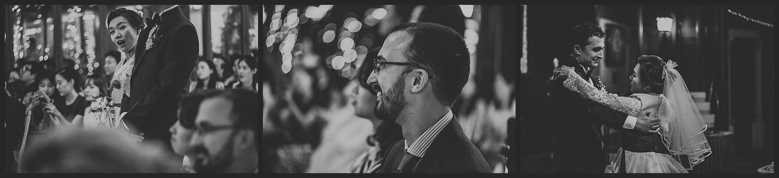 mariée qui regarde le photographe vivien malagnat, frère du marié qui souri et danse, valse des mariés