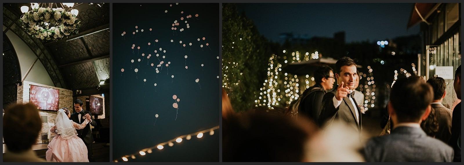 ouverture de bal des mariés, séoul wedding hall, laché de ballon, marié qui pointe le photographe vivien malagnat