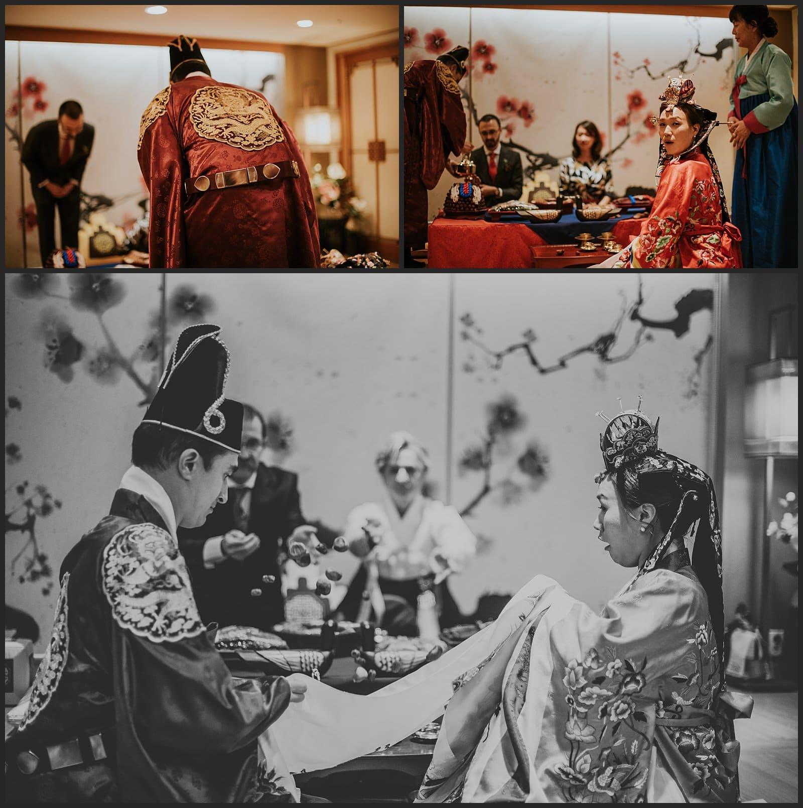 cérémonie traditionnelle coréenne, jeter de marron, photographe vivien malagnat