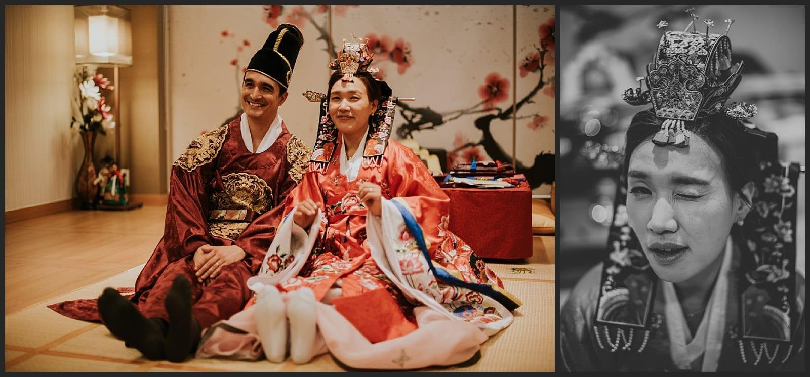 mariée en tenue traditionnel, fin de cérémonie traditionnel coréenne, clin d'œil de la mariée.