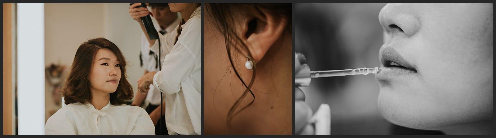 Future mariée qui se fait maquiller au salon Pinetree de Séoul détails de sa bouche par Vivien Malagnat Destination Wedding