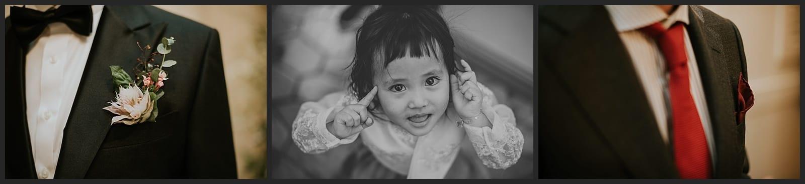 Détails de costume du mariée et de son frère et portrait d'une petite fille par Vivien Malagnat photographe