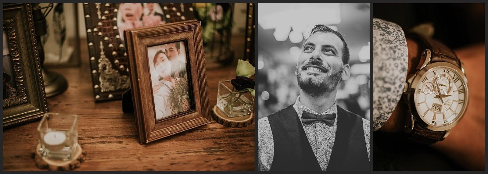 détails de montre et de la décoration du mariage au Wedding hall à Séoul et portrait d'un invité