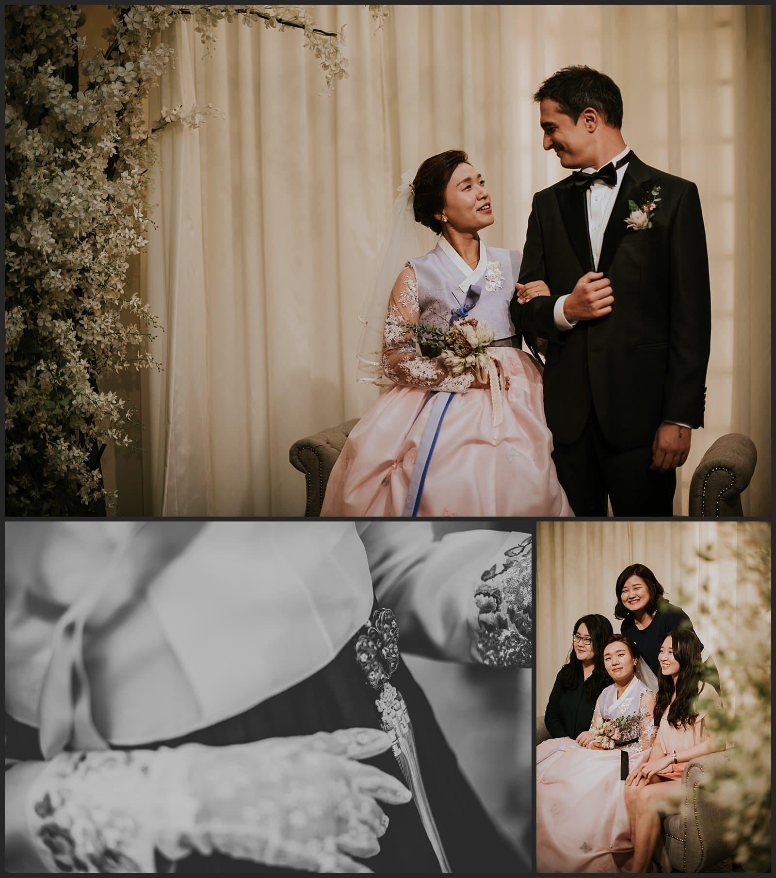 Couple de mariée détails du Hanbok de la mère du mariée