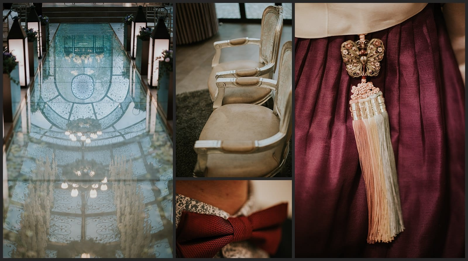 """Reflet du """"Wedding hall"""" détails de chaise, noeud papillon et hanbok vivien malagnat"""