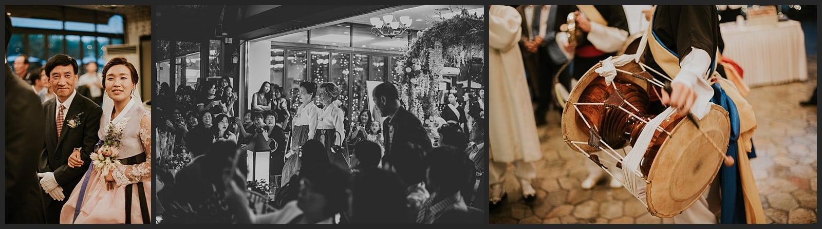 Début de la cérémonie de mariage, groupe de musique avec instrument traditionnel coréen