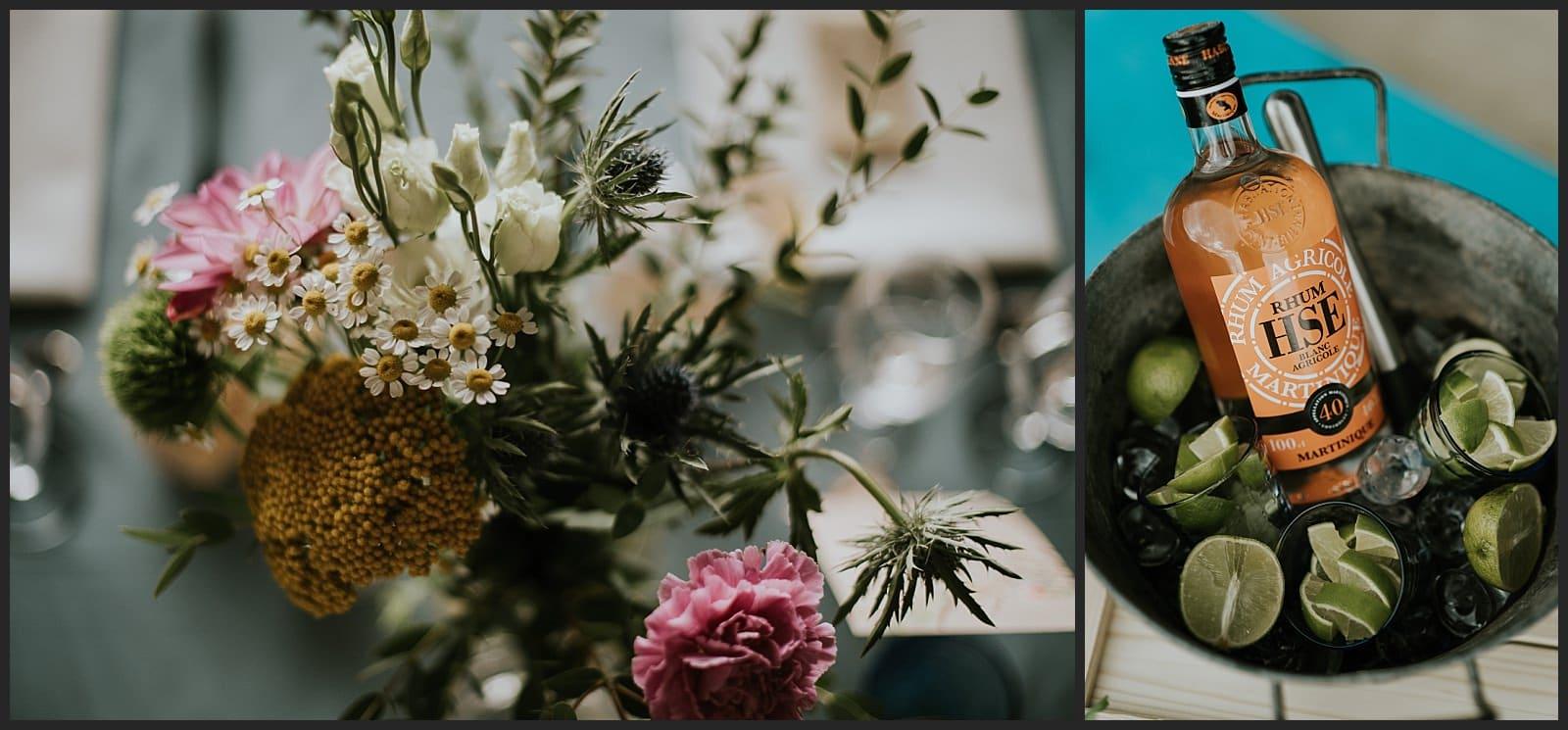 fleur posé sur la table des mariés et atelier mojito au vin d'honneur