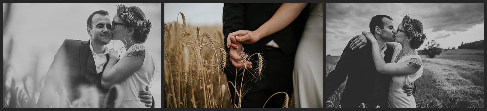 séance couple dans un champ de blé
