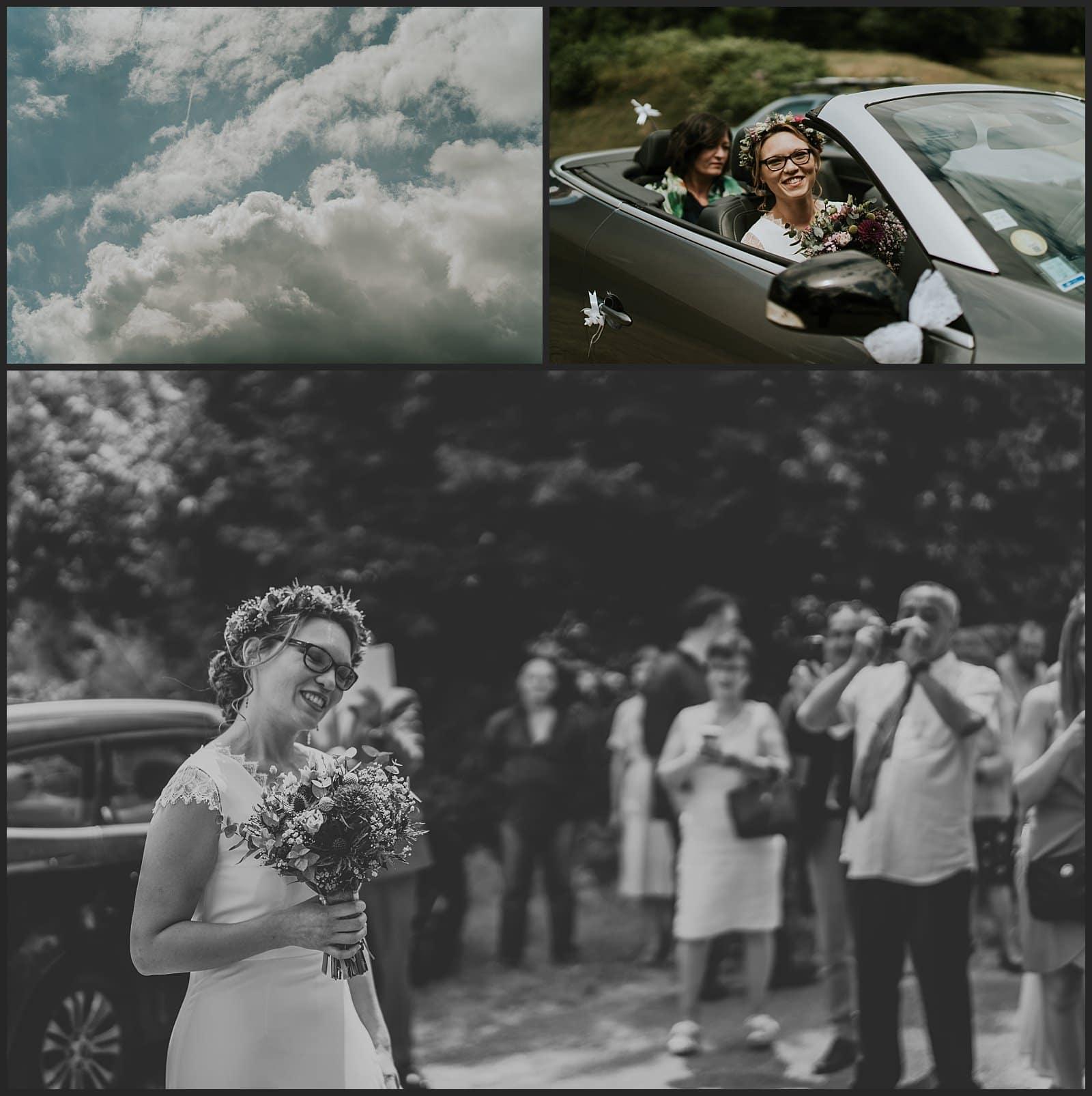Ciel du mariage, arrivée de la mariée dans sa voiture à la mairie