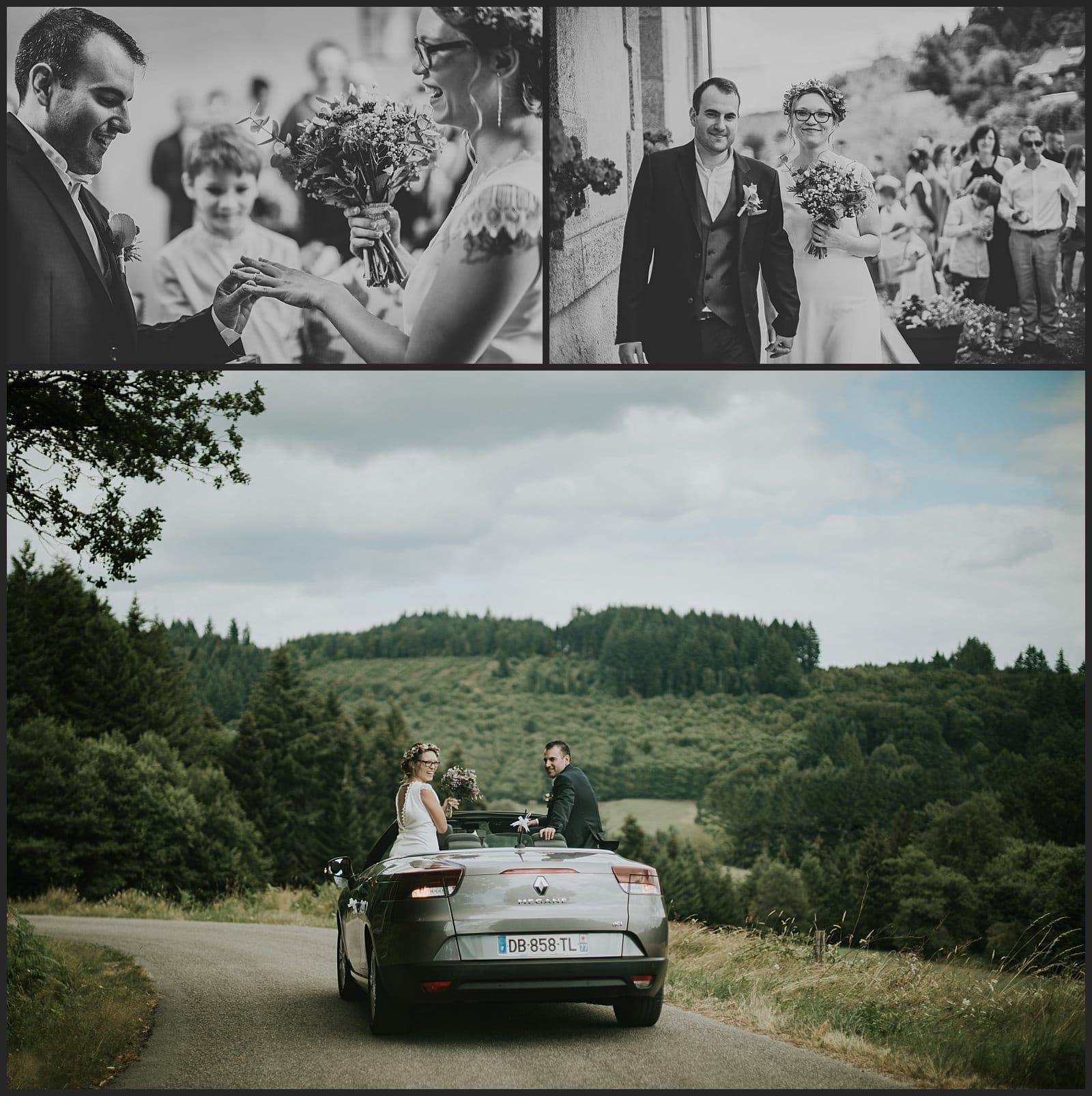 Echange des alliances, sortie de la marie et départ en voiture des mariés