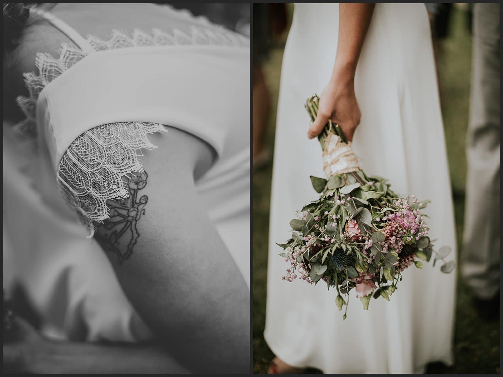 détails de la robe et du bouquet de la mariée