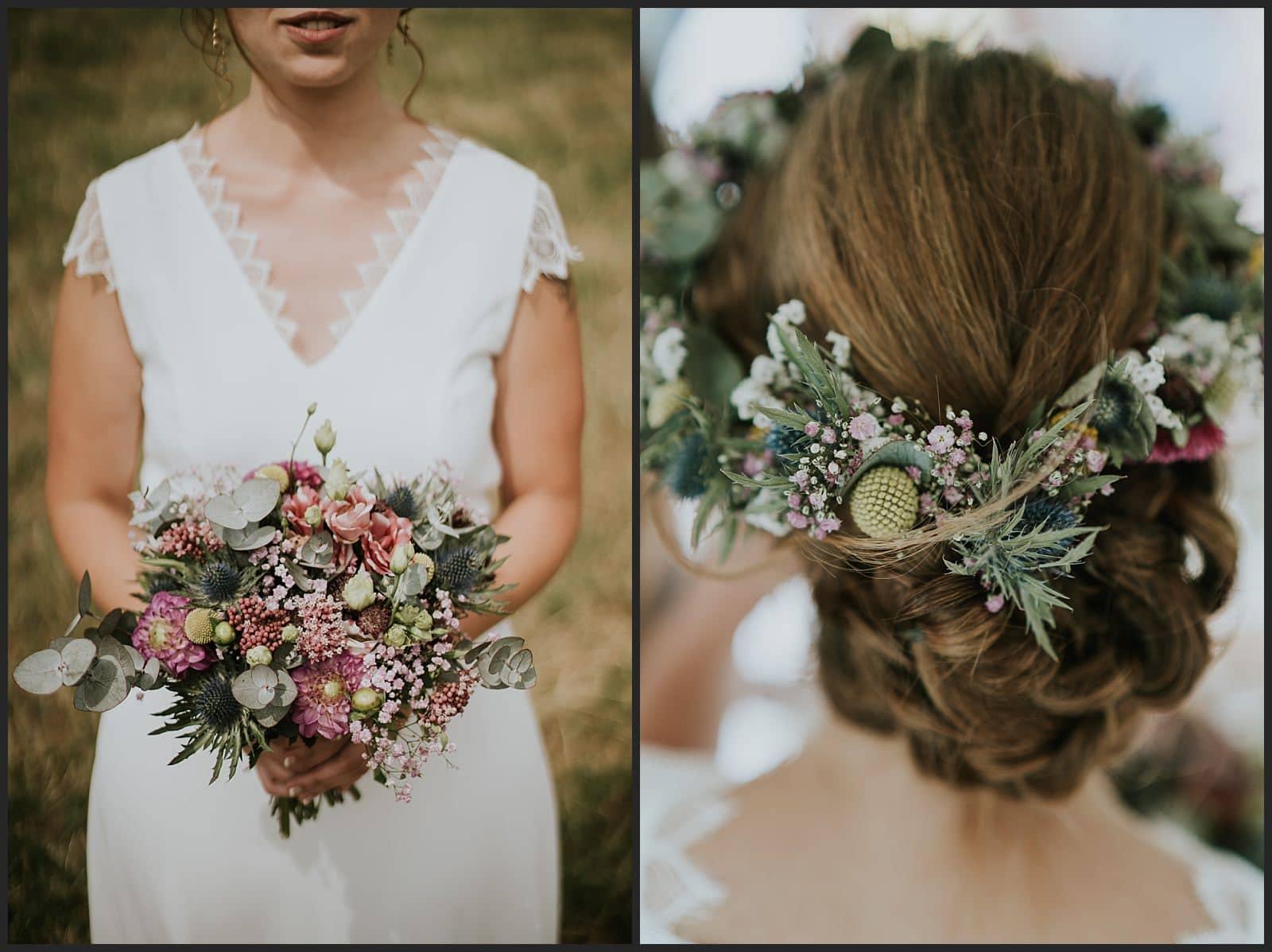 coiffure de la mariée et détails du bouquet de mariée