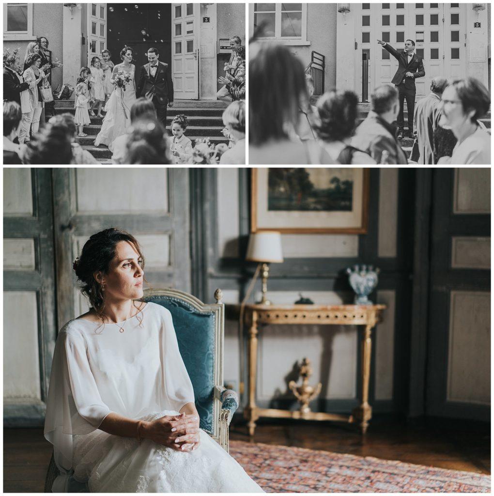 Sortie des marié(e)s de l'église et la mariée qui attend avant la cérémonie laïque