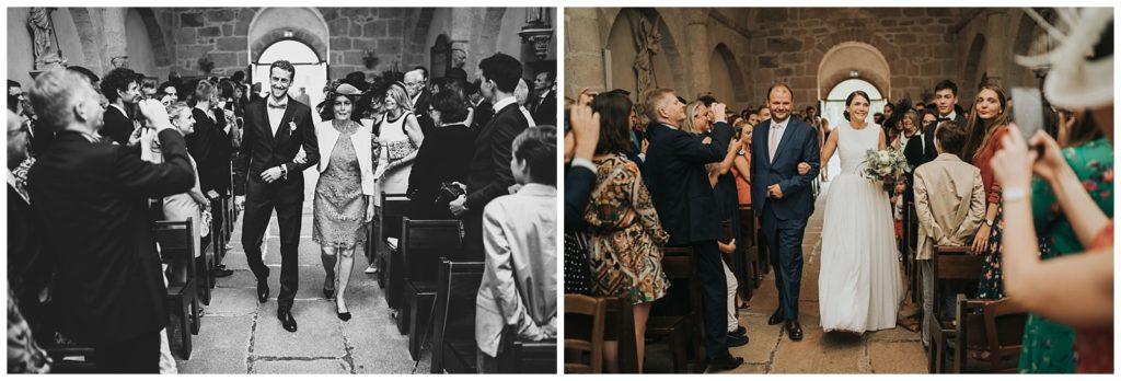 entrée dans l'église pour les mariés à boisseuil