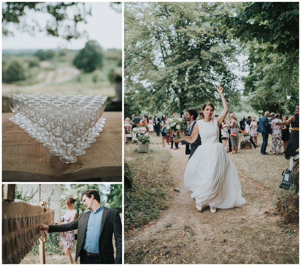mariée qui danse et décoration avant le coktail